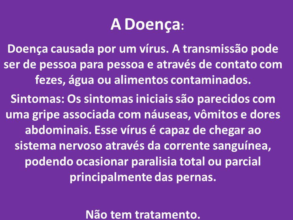A Doença: Doença causada por um vírus. A transmissão pode ser de pessoa para pessoa e através de contato com fezes, água ou alimentos contaminados.