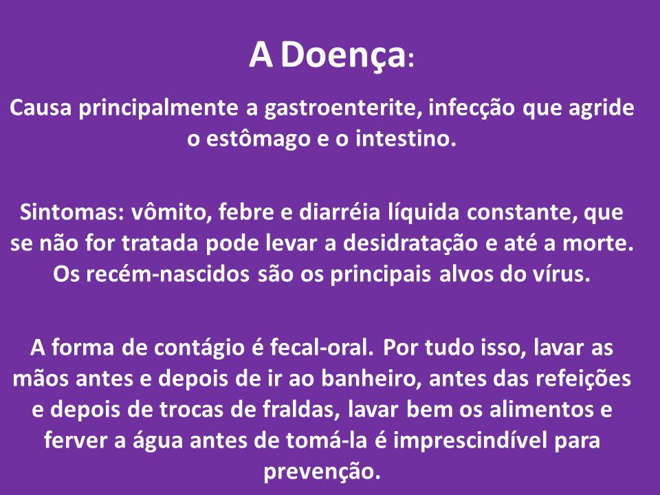 A Doença: Causa principalmente a gastroenterite, infecção que agride o estômago e o intestino.