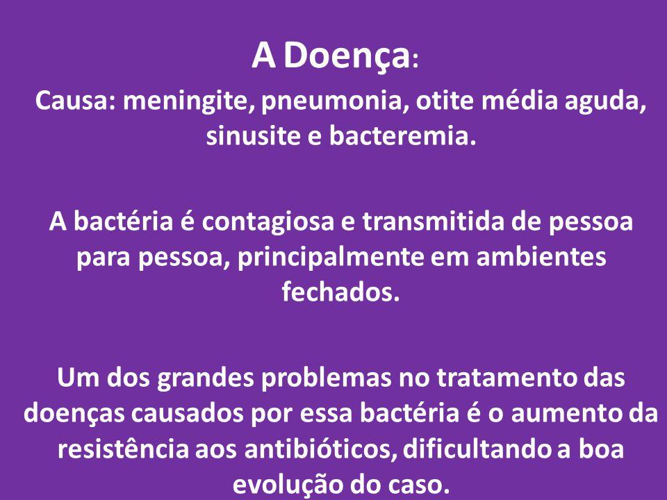 Causa: meningite, pneumonia, otite média aguda, sinusite e bacteremia.