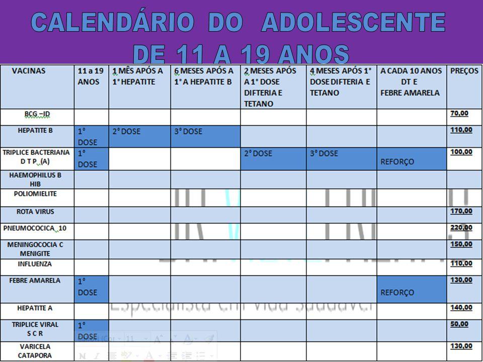 CALENDÁRIO DO ADOLESCENTE