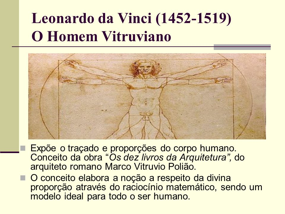 Leonardo da Vinci (1452-1519) O Homem Vitruviano