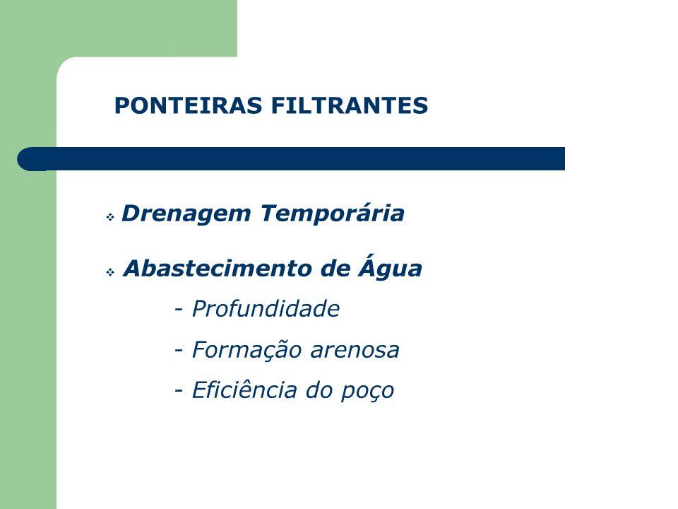 PONTEIRAS FILTRANTES Drenagem Temporária. Abastecimento de Água. - Profundidade. - Formação arenosa.