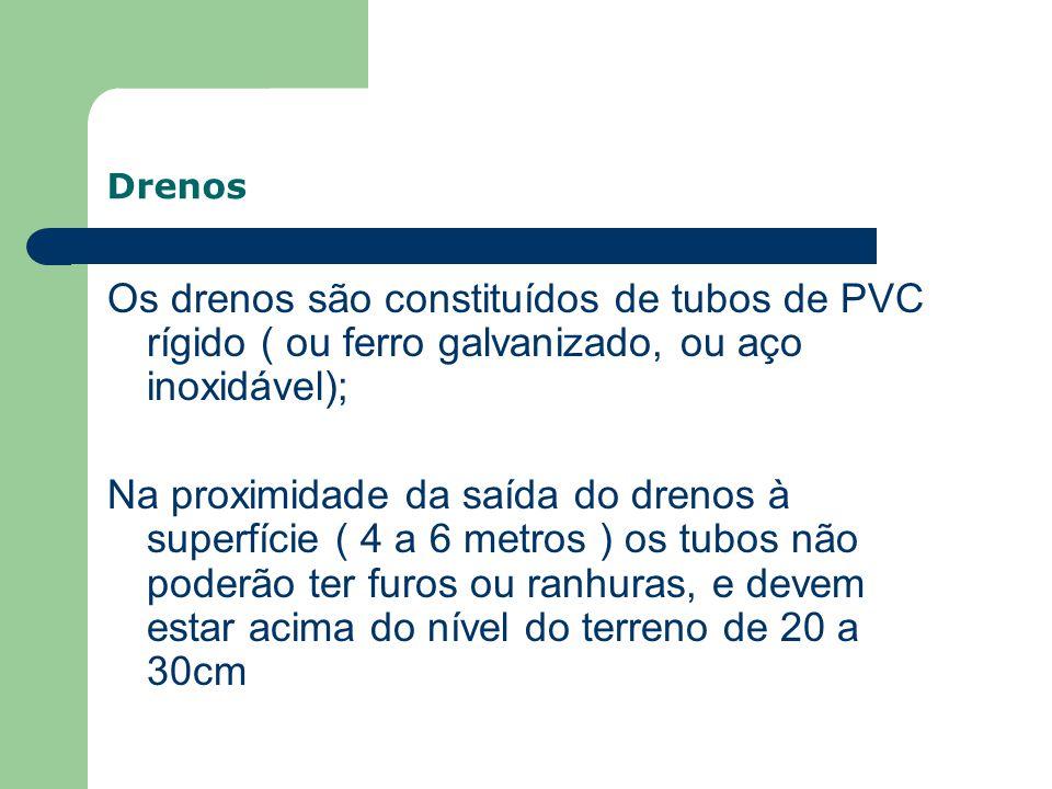 Drenos Os drenos são constituídos de tubos de PVC rígido ( ou ferro galvanizado, ou aço inoxidável);