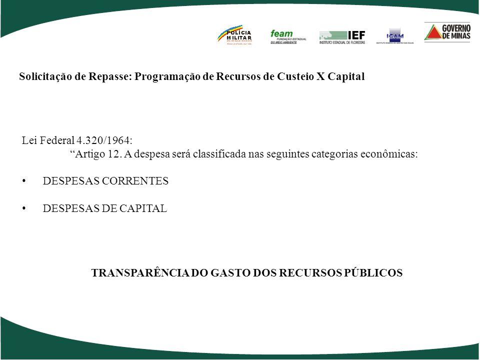 Solicitação de Repasse: Programação de Recursos de Custeio X Capital