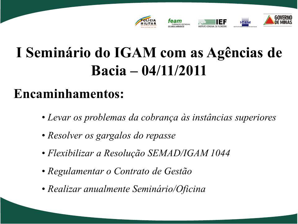 I Seminário do IGAM com as Agências de Bacia – 04/11/2011
