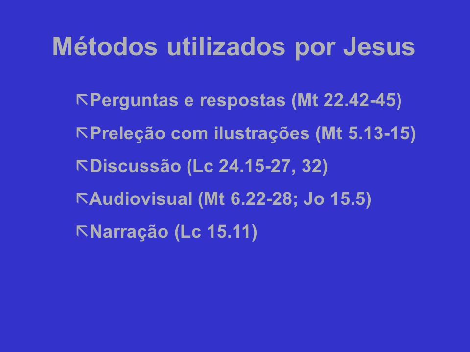 Métodos utilizados por Jesus