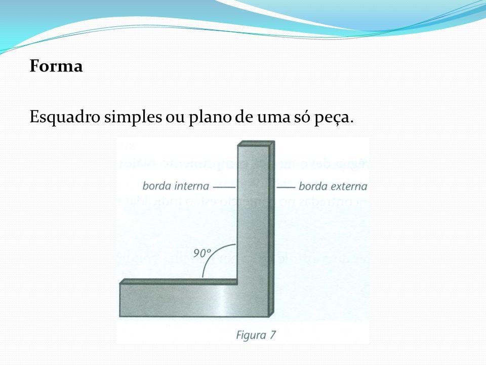 Forma Esquadro simples ou plano de uma só peça.