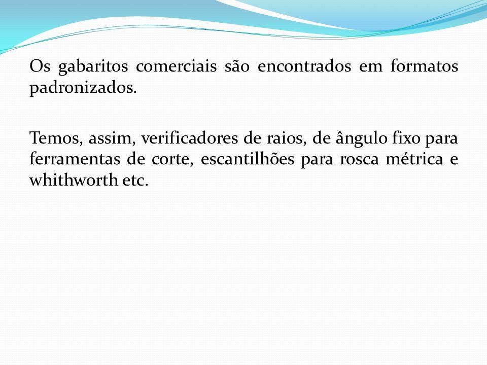 Os gabaritos comerciais são encontrados em formatos padronizados