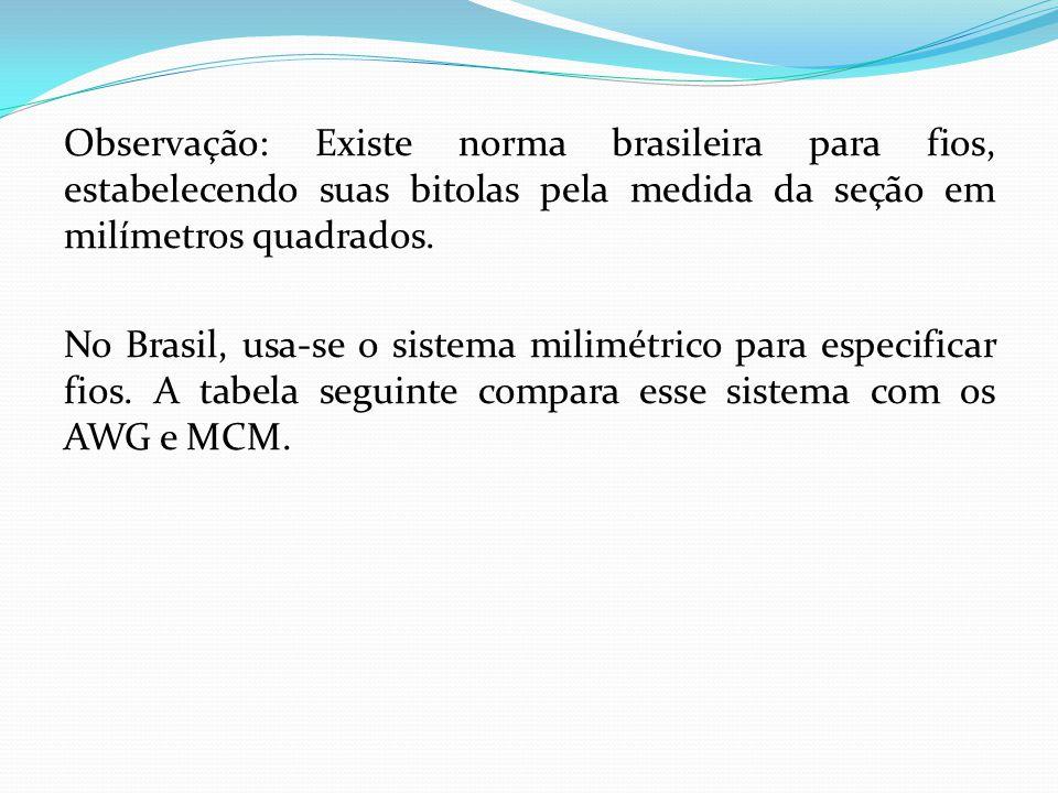 Observação: Existe norma brasileira para fios, estabelecendo suas bitolas pela medida da seção em milímetros quadrados.