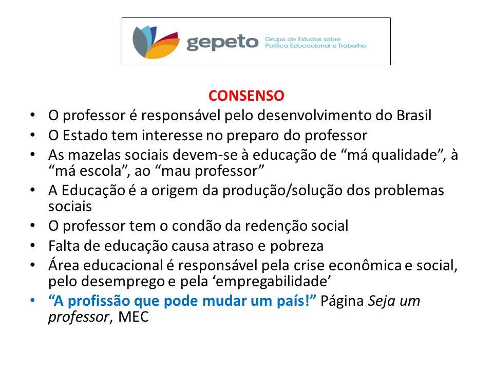 CONSENSO O professor é responsável pelo desenvolvimento do Brasil. O Estado tem interesse no preparo do professor.
