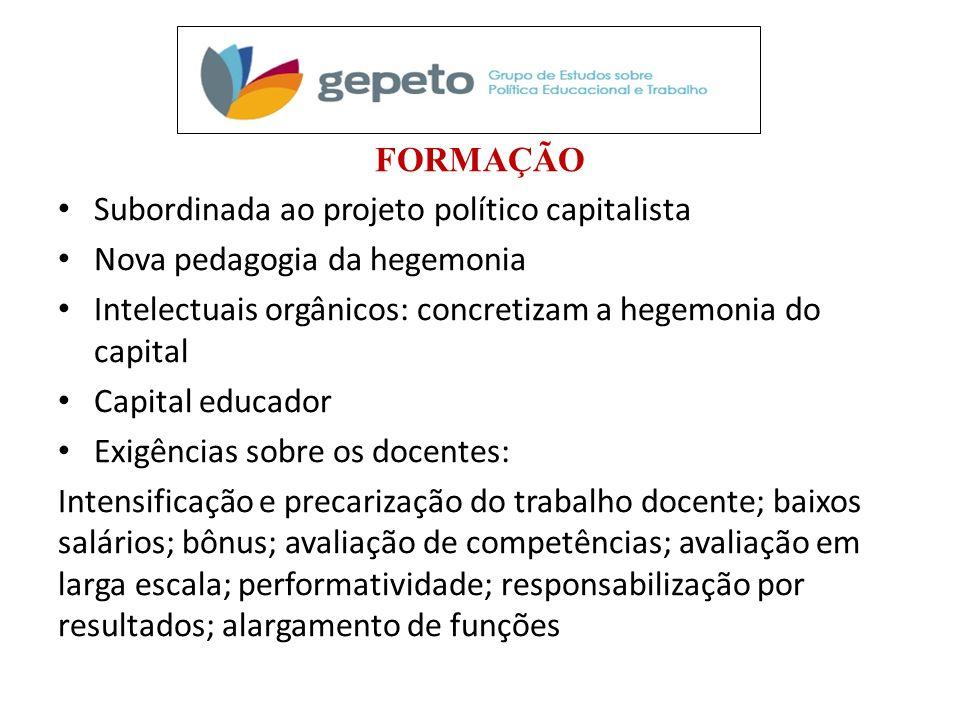 FORMAÇÃO Subordinada ao projeto político capitalista. Nova pedagogia da hegemonia. Intelectuais orgânicos: concretizam a hegemonia do capital.