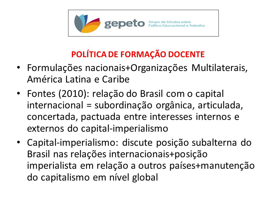 POLÍTICA DE FORMAÇÃO DOCENTE