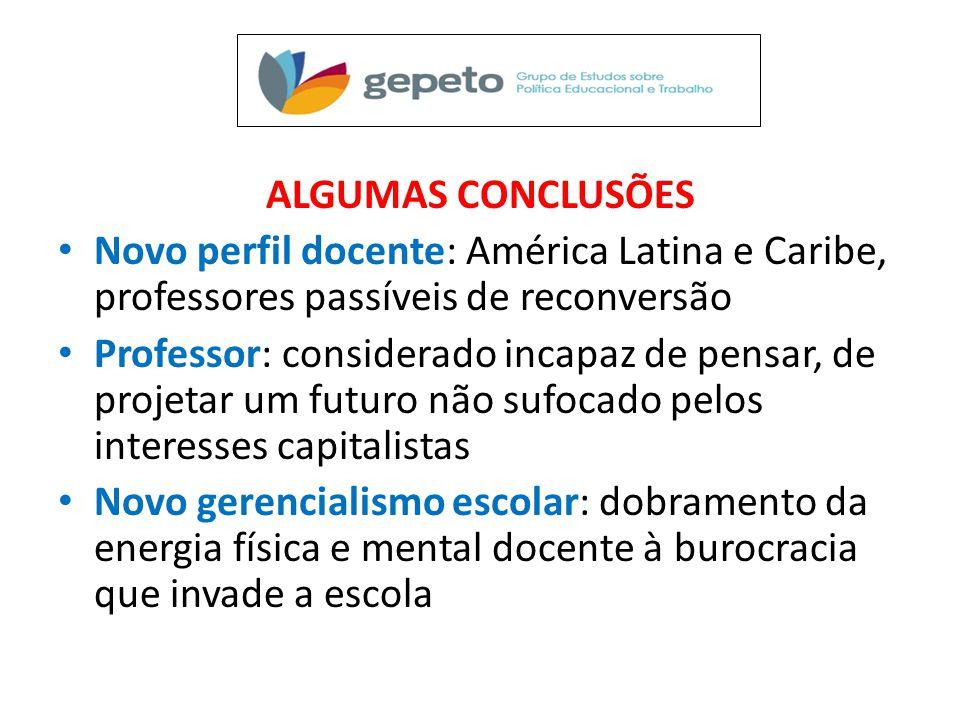 ALGUMAS CONCLUSÕES Novo perfil docente: América Latina e Caribe, professores passíveis de reconversão.