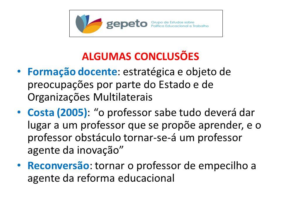 ALGUMAS CONCLUSÕES Formação docente: estratégica e objeto de preocupações por parte do Estado e de Organizações Multilaterais.