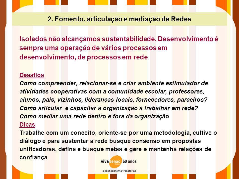 2. Fomento, articulação e mediação de Redes