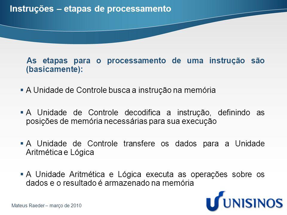 Instruções – etapas de processamento