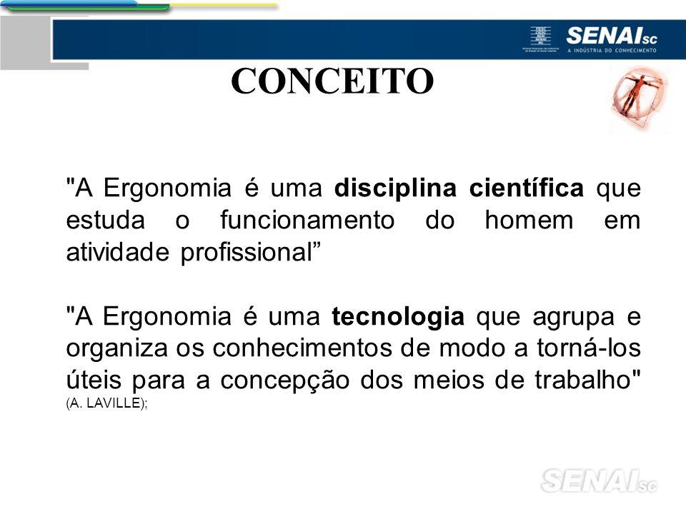 CONCEITO A Ergonomia é uma disciplina científica que estuda o funcionamento do homem em atividade profissional