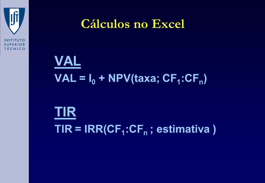 Cálculos no Excel VAL TIR VAL = I0 + NPV(taxa; CF1:CFn)