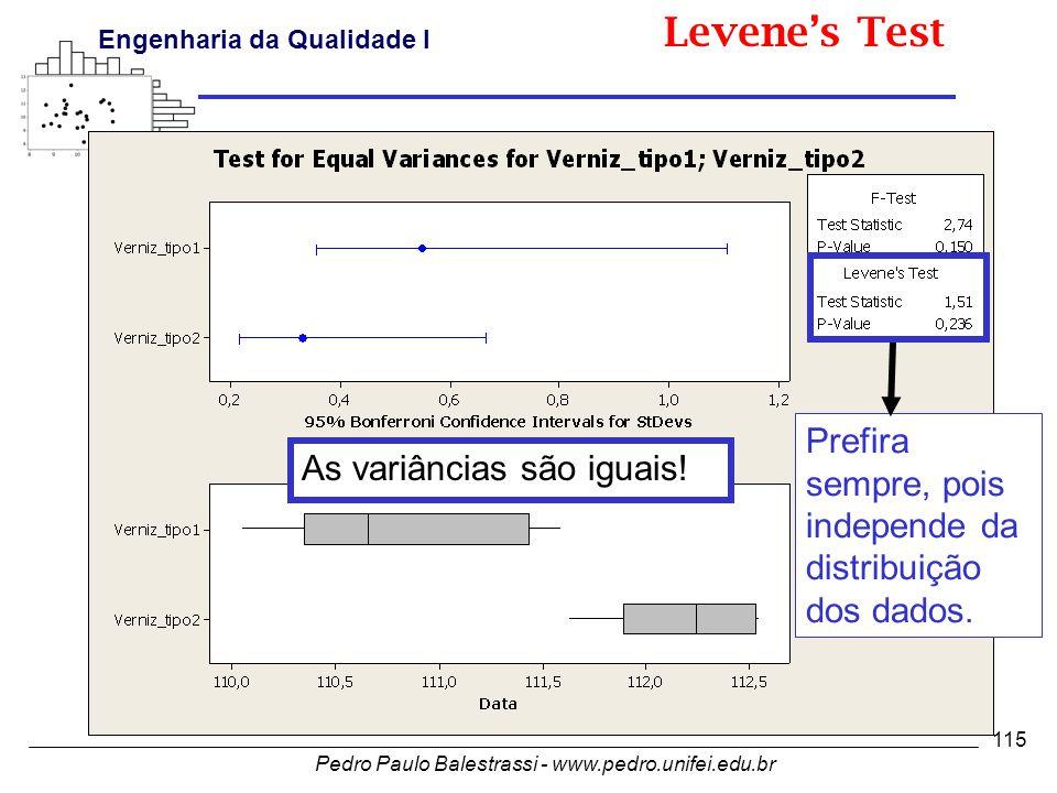 Levene's Test Prefira sempre, pois independe da distribuição dos dados. As variâncias são iguais!
