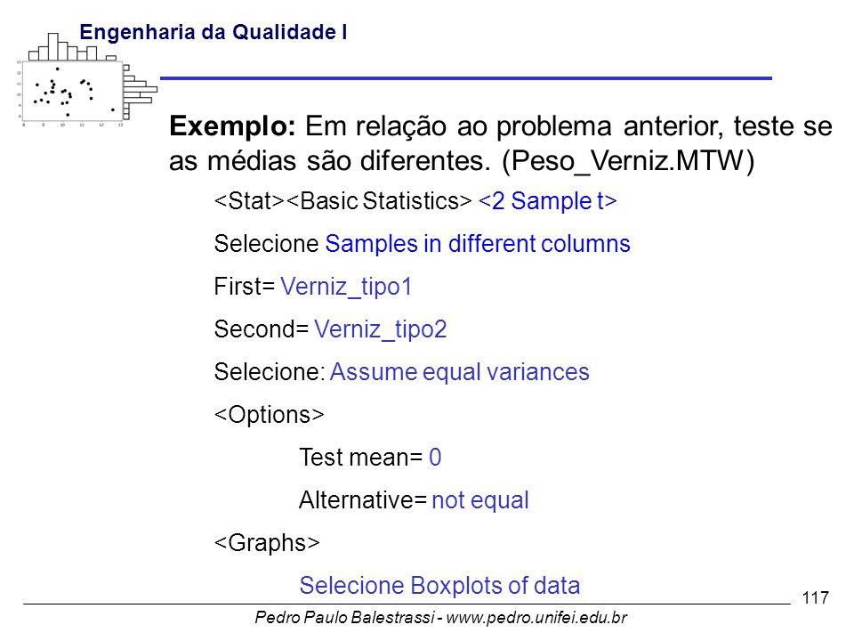 Exemplo: Em relação ao problema anterior, teste se as médias são diferentes. (Peso_Verniz.MTW)