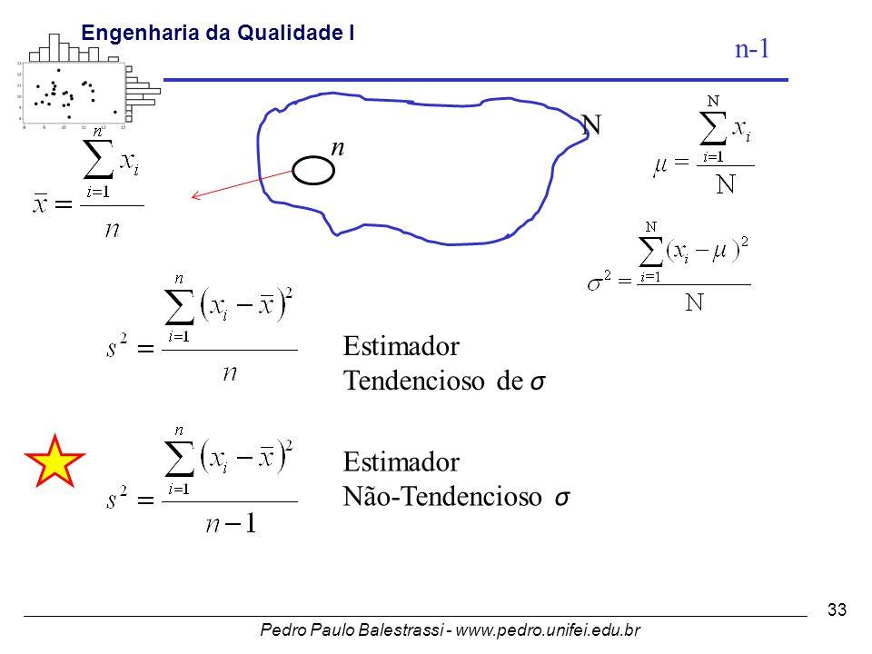 n-1 N n Estimador Tendencioso de σ Estimador Não-Tendencioso σ