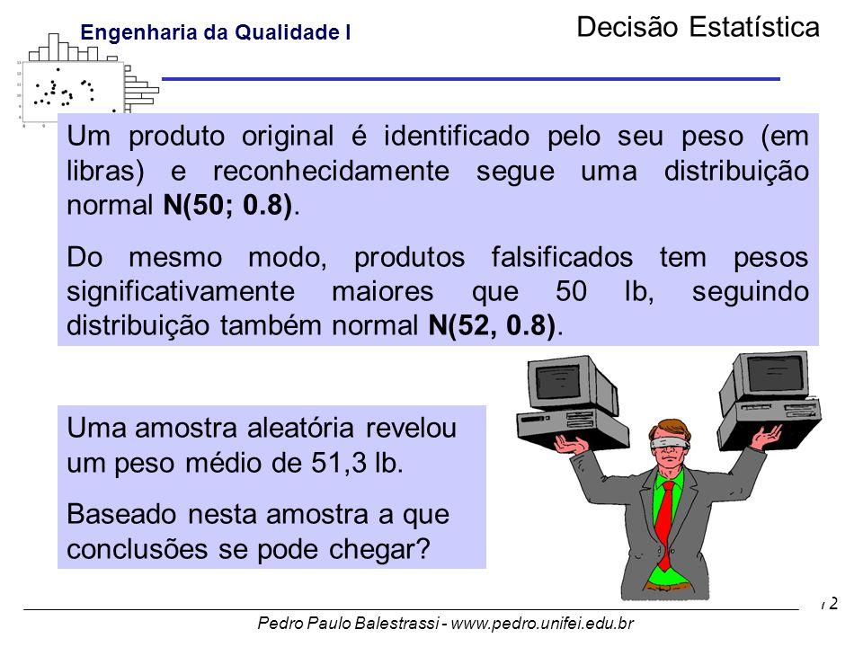 Decisão Estatística Um produto original é identificado pelo seu peso (em libras) e reconhecidamente segue uma distribuição normal N(50; 0.8).