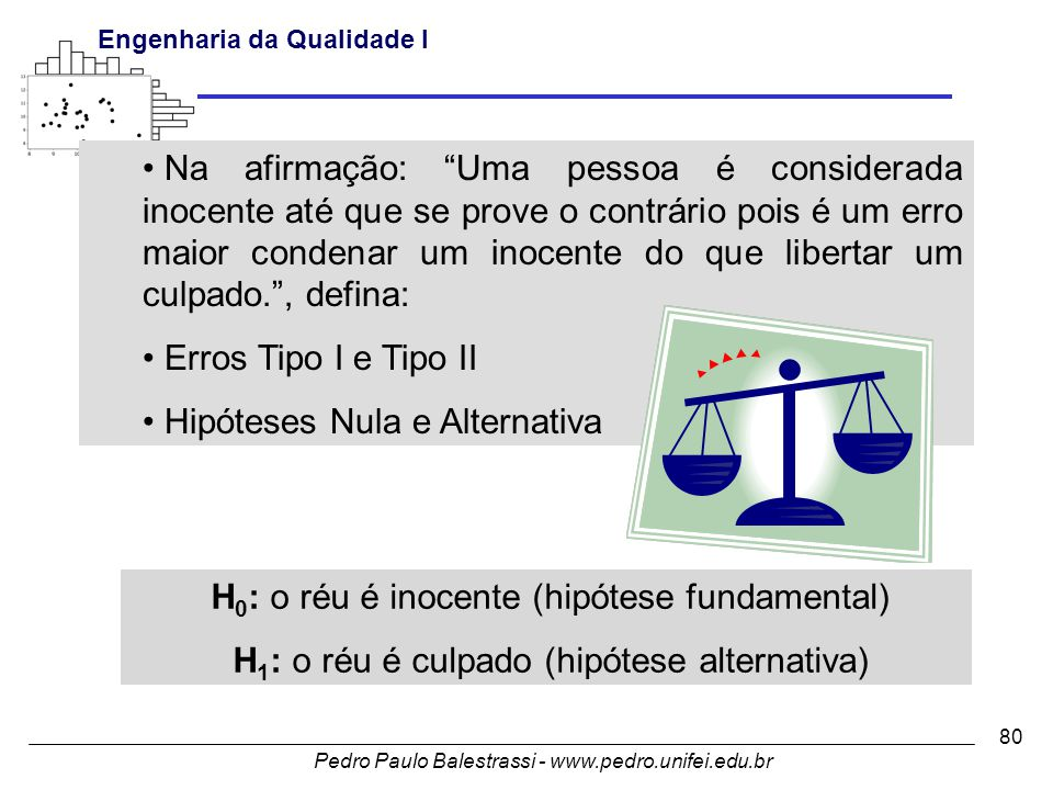 Hipóteses Nula e Alternativa