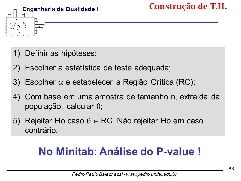 No Minitab: Análise do P-value !