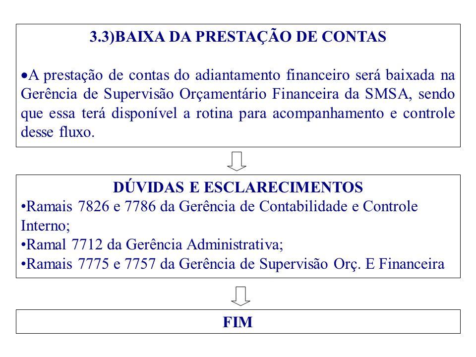 3.3)BAIXA DA PRESTAÇÃO DE CONTAS DÚVIDAS E ESCLARECIMENTOS