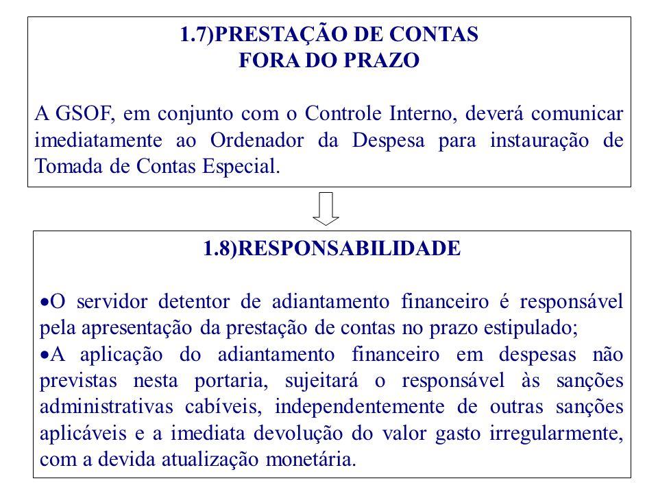 1.7)PRESTAÇÃO DE CONTAS FORA DO PRAZO.