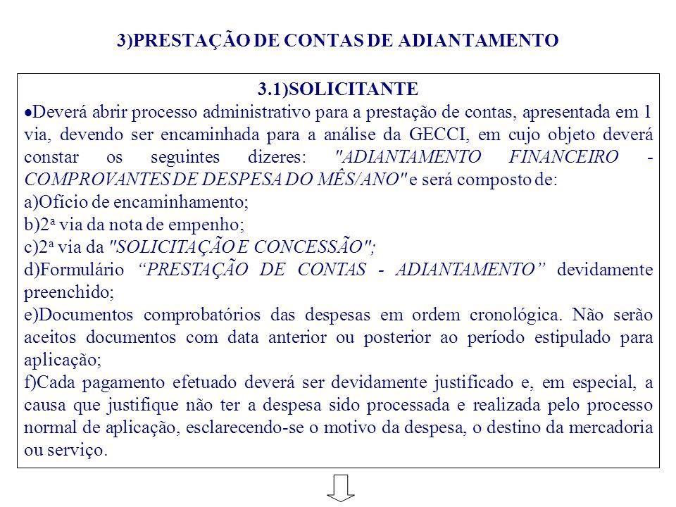 3)PRESTAÇÃO DE CONTAS DE ADIANTAMENTO