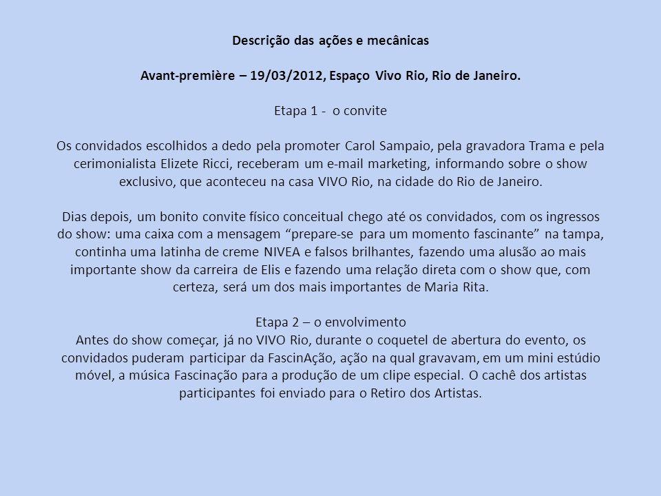 Descrição das ações e mecânicas Avant-première – 19/03/2012, Espaço Vivo Rio, Rio de Janeiro.