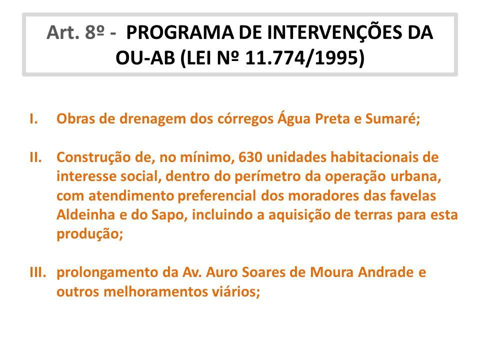 Art. 8º - PROGRAMA DE INTERVENÇÕES DA OU-AB (LEI Nº 11.774/1995)