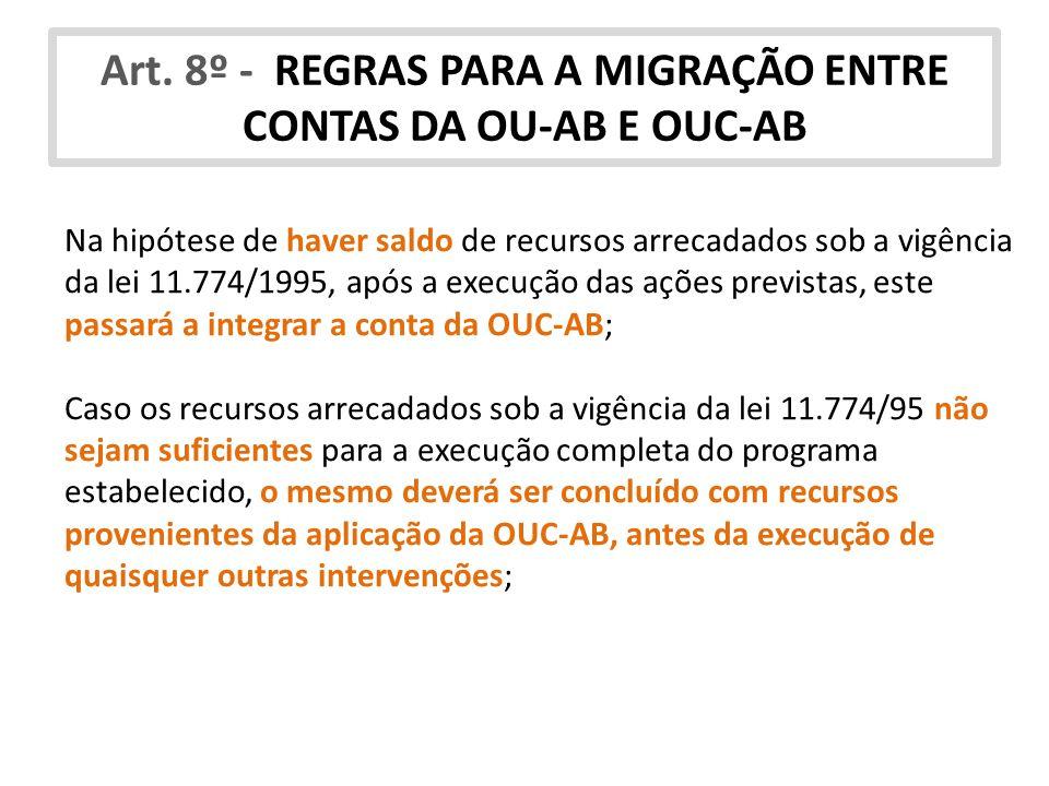 Art. 8º - REGRAS PARA A MIGRAÇÃO ENTRE CONTAS DA OU-AB E OUC-AB