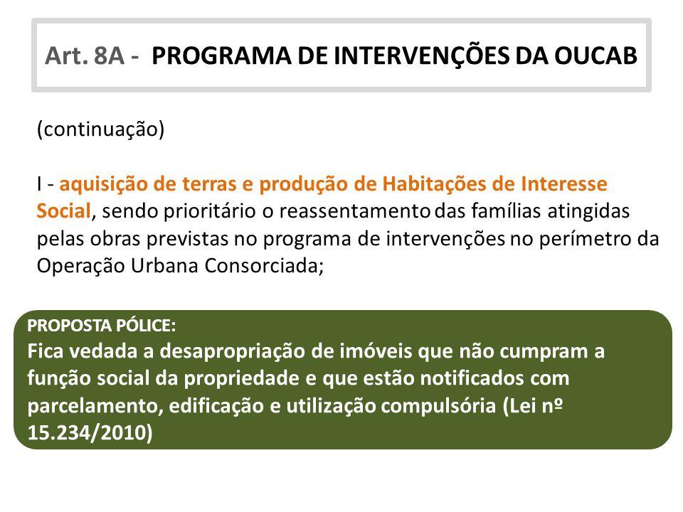 Art. 8A - PROGRAMA DE INTERVENÇÕES DA OUCAB