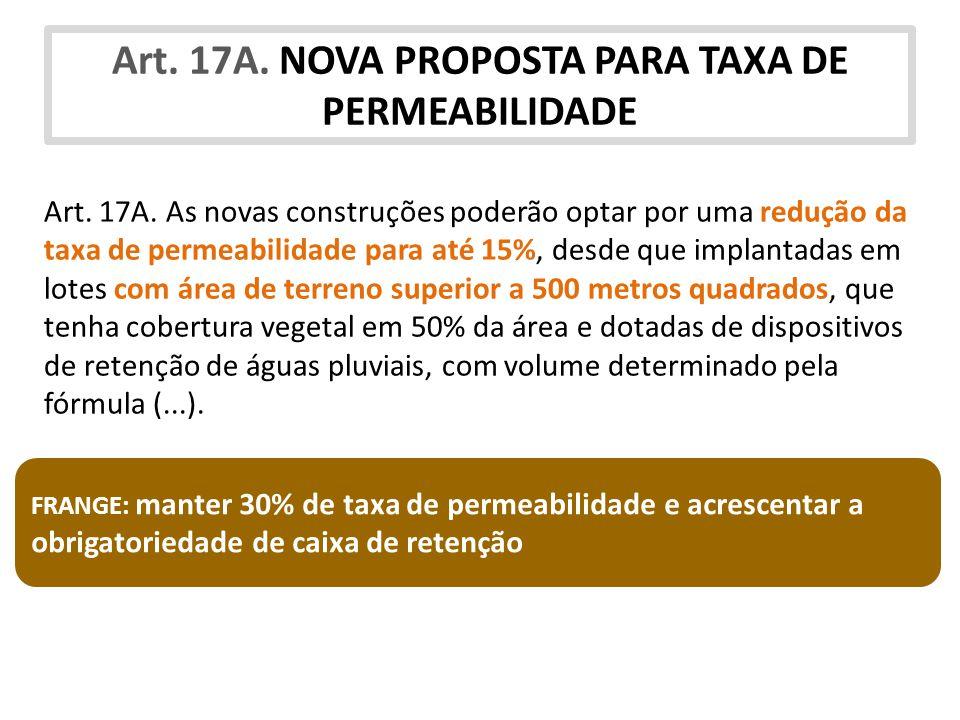 Art. 17A. NOVA PROPOSTA PARA TAXA DE PERMEABILIDADE