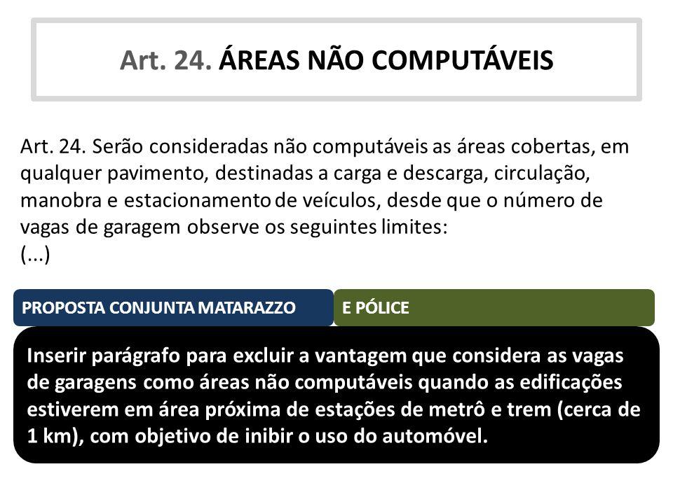 Art. 24. ÁREAS NÃO COMPUTÁVEIS