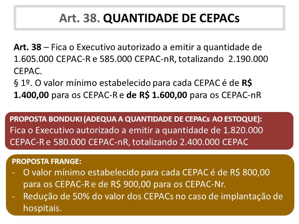 Art. 38. QUANTIDADE DE CEPACs