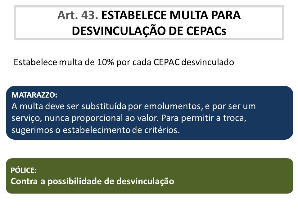Art. 43. ESTABELECE MULTA PARA DESVINCULAÇÃO DE CEPACs
