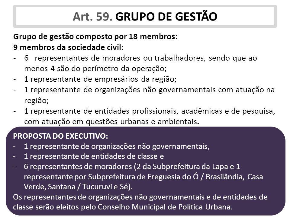 Art. 59. GRUPO DE GESTÃO Grupo de gestão composto por 18 membros: