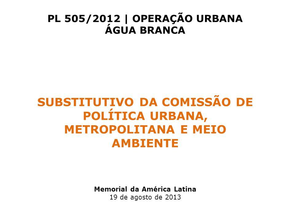 PL 505/2012 | OPERAÇÃO URBANA ÁGUA BRANCA Memorial da América Latina