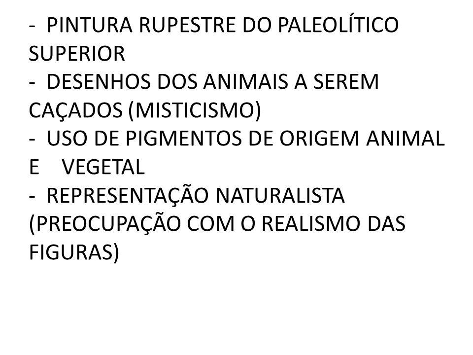 - PINTURA RUPESTRE DO PALEOLÍTICO SUPERIOR - DESENHOS DOS ANIMAIS A SEREM CAÇADOS (MISTICISMO) - USO DE PIGMENTOS DE ORIGEM ANIMAL E VEGETAL - REPRESENTAÇÃO NATURALISTA (PREOCUPAÇÃO COM O REALISMO DAS FIGURAS)