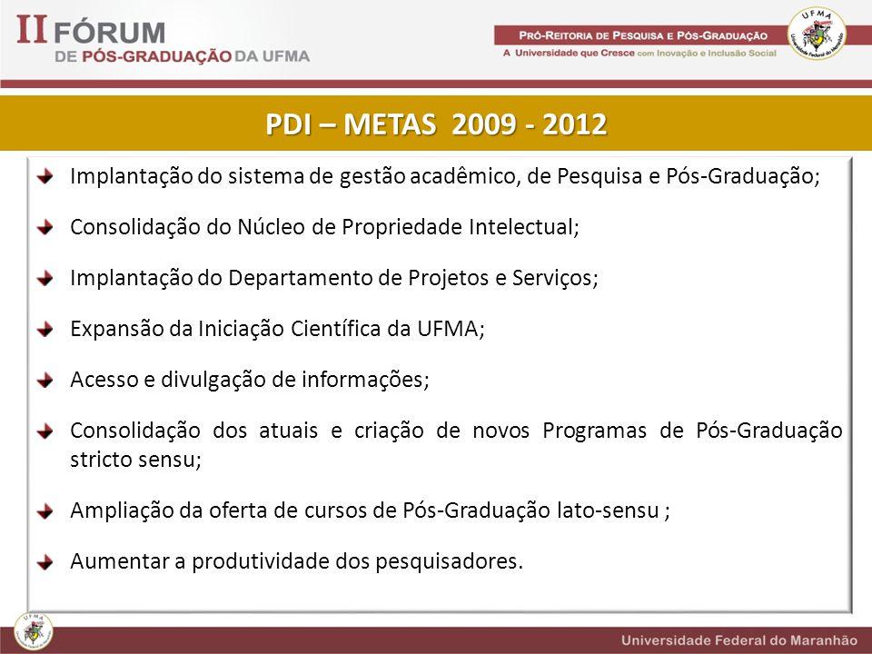 PDI – METAS 2009 - 2012 Implantação do sistema de gestão acadêmico, de Pesquisa e Pós-Graduação; Consolidação do Núcleo de Propriedade Intelectual;