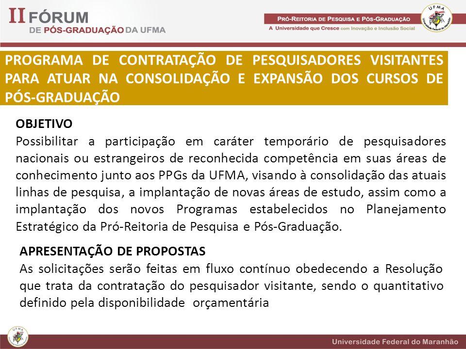 PROGRAMA DE CONTRATAÇÃO DE PESQUISADORES VISITANTES PARA ATUAR NA CONSOLIDAÇÃO E EXPANSÃO DOS CURSOS DE PÓS-GRADUAÇÃO