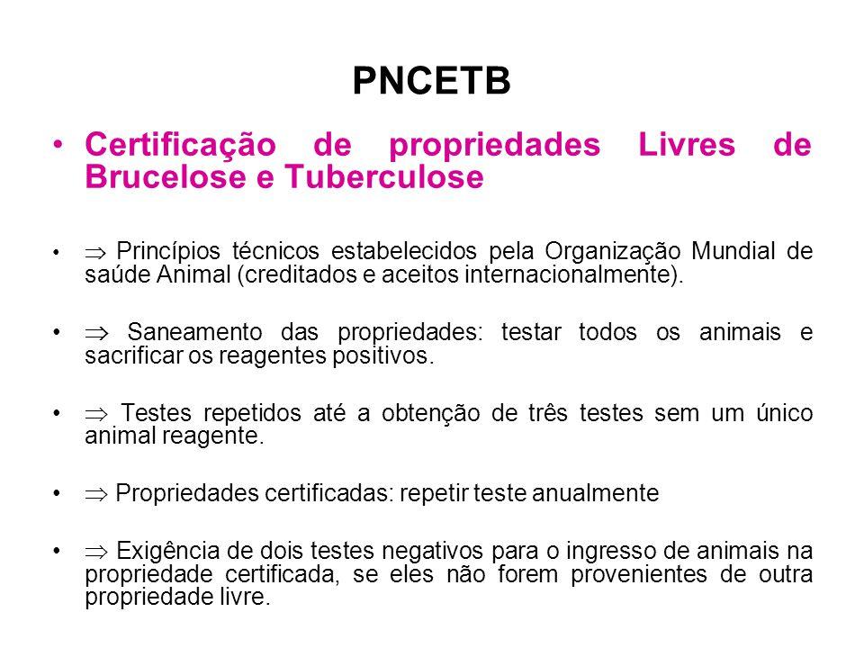 PNCETB Certificação de propriedades Livres de Brucelose e Tuberculose