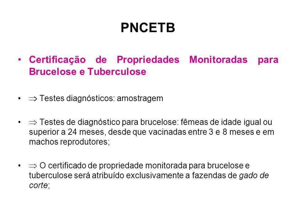 PNCETB Certificação de Propriedades Monitoradas para Brucelose e Tuberculose.  Testes diagnósticos: amostragem.