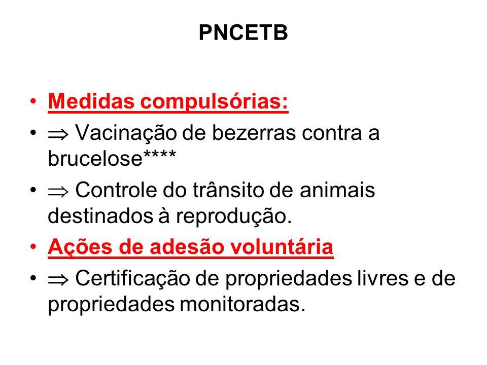 PNCETB Medidas compulsórias:  Vacinação de bezerras contra a brucelose****  Controle do trânsito de animais destinados à reprodução.