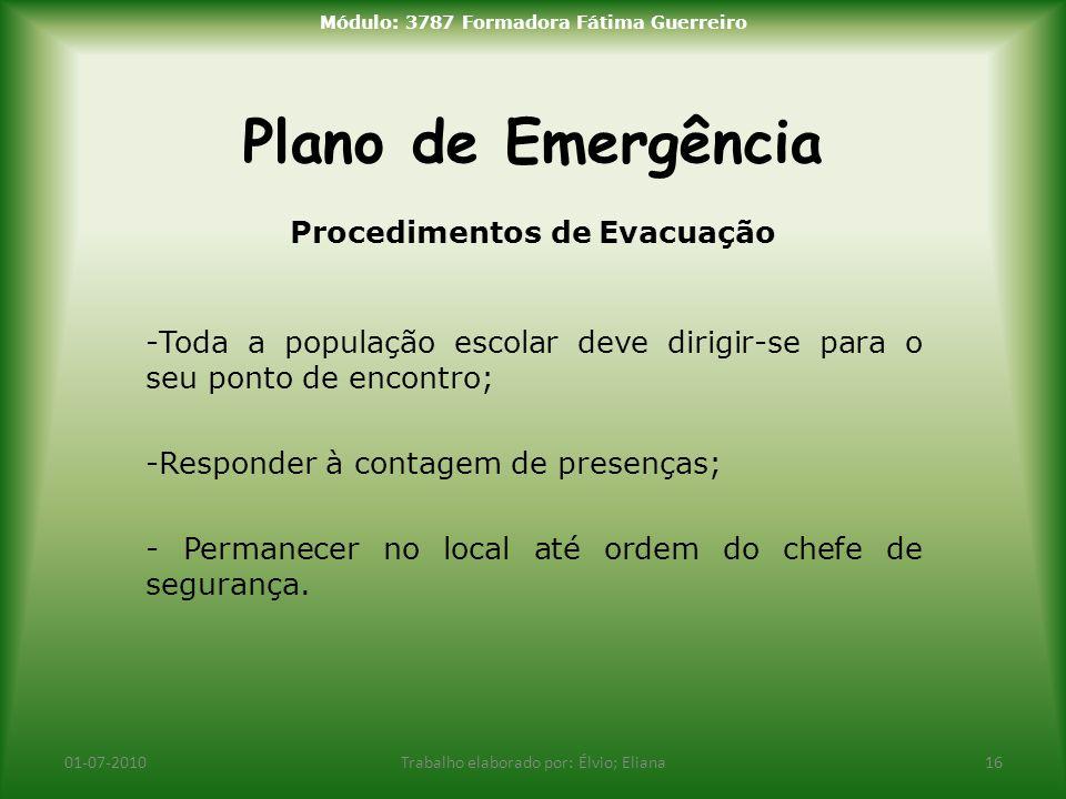 Módulo: 3787 Formadora Fátima Guerreiro Procedimentos de Evacuação