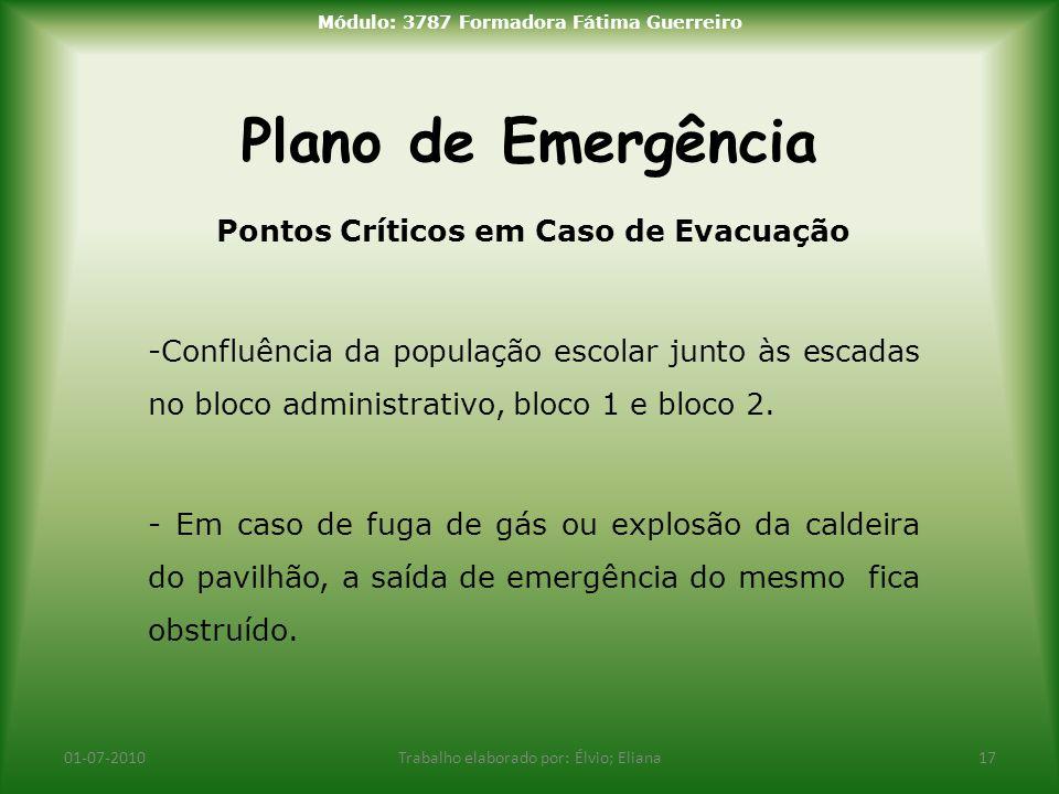 Plano de Emergência Pontos Críticos em Caso de Evacuação