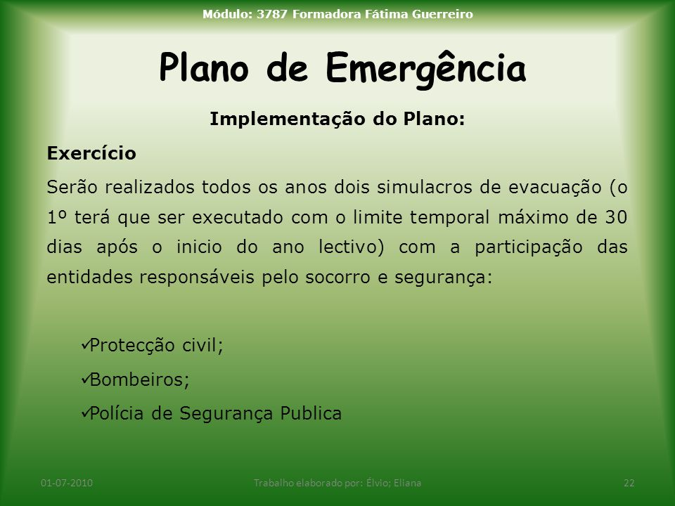 Módulo: 3787 Formadora Fátima Guerreiro Implementação do Plano: